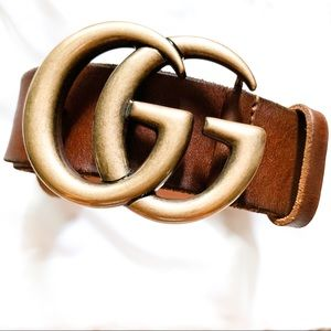 Authentic Gucci Leather Belt w/ Double G Buckle